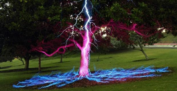 Удар молнии в дерево